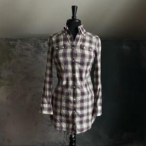 All Saints Deadwood Plaid Shirt Dress - SZ S